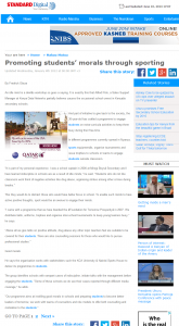 Standard Digital News   Kenya   Promoting students' morals through sporting